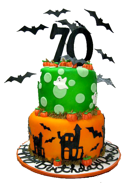 Halloween theme 70th birthday cake in two tiers